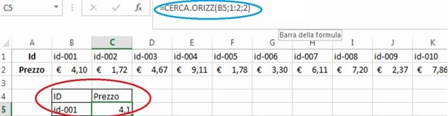 cerca orizzontale excel