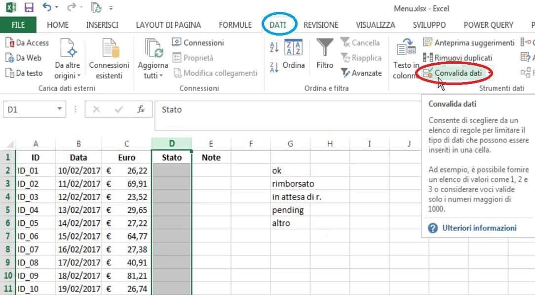 convalida dati