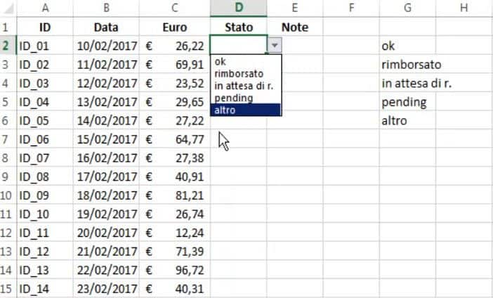menu a tendina excel